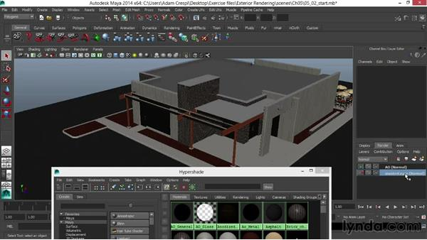 Creating an ambient-occlusion rendering pass with custom materials: Rendering Exteriors in Maya