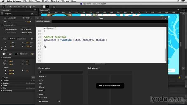 Resetting the position of all objects: Creating Drag-and-Drop Functionality with Edge Animate