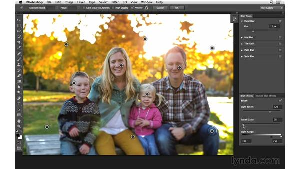 Using Field Blur to sharpen focus area (CC 2014): Photoshop CC for Photographers: Intermediate