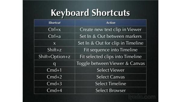 Keyboard shortcuts for text: Final Cut Pro 5 Essential Effects