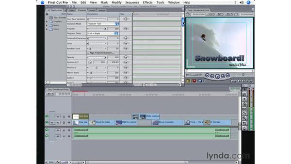 Creating a text effect using Text Scrambler: Final Cut Pro 5 Essential Effects