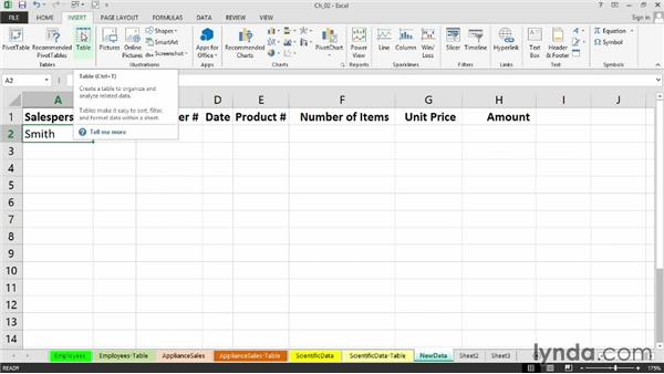 Converting data into tables for enhanced visual appeal and content control: Setting Up a Database in Excel 2013