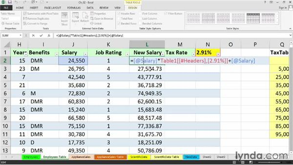Working with formulas in tables: Setting Up a Database in Excel 2013