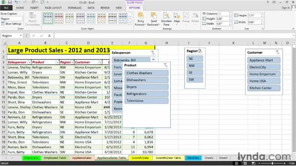 Using slicers to facilitate table filtering: Setting Up a Database in Excel 2013