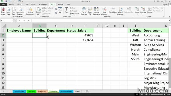 Using Data Validation to restrict data entries: Setting Up a Database in Excel 2013
