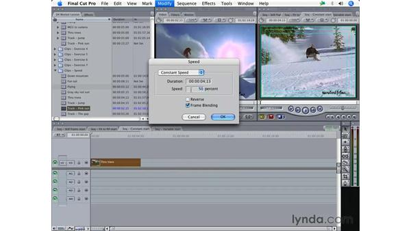 Changing clip speed: Final Cut Pro 5 Essential Effects