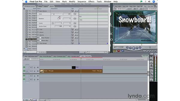 Moving text with Keyframes: Final Cut Pro 5 Essential Effects