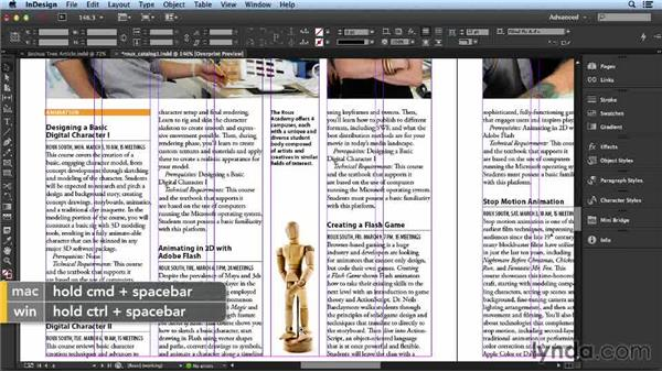 Working with a floating column: Layout and Composition with InDesign