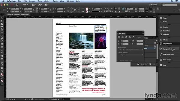 Formatting the supporting text: Layout and Composition with InDesign