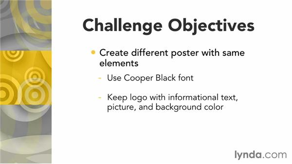 Challenge: Create a poster: Layout and Composition with InDesign