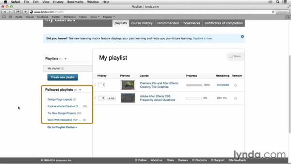 Using curated playlists: How to use Lynda.com