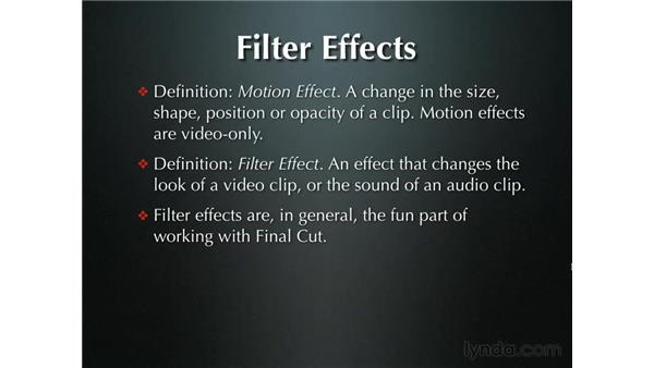 Introduction to using filters: Final Cut Pro 5 Essential Effects