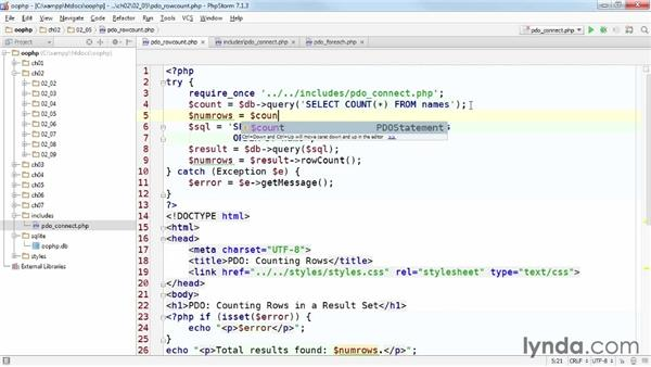 Finding the number of results from a SELECT query: Accessing Databases with Object-Oriented PHP