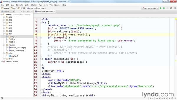 Using real_query(): Accessing Databases with Object-Oriented PHP