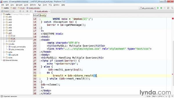 Submitting multiple queries: Accessing Databases with Object-Oriented PHP