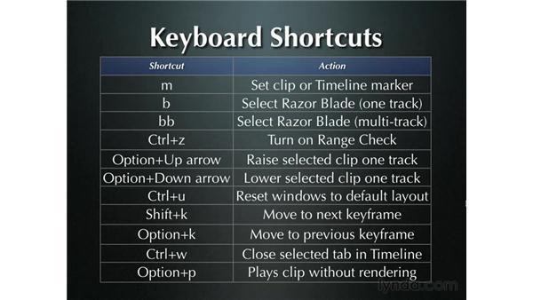 Keyboard shortcuts: Final Cut Pro 5 Essential Effects