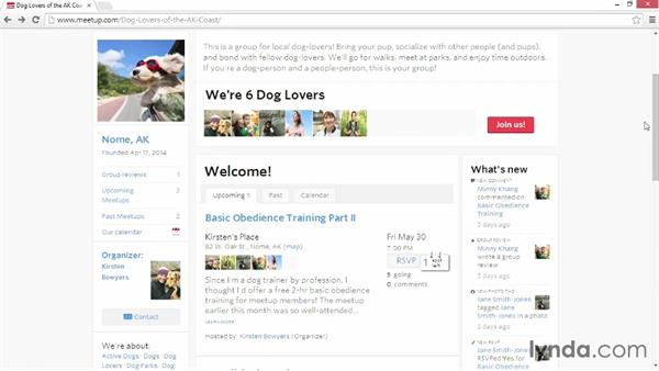 Browsing group information: Up and Running with Meetup