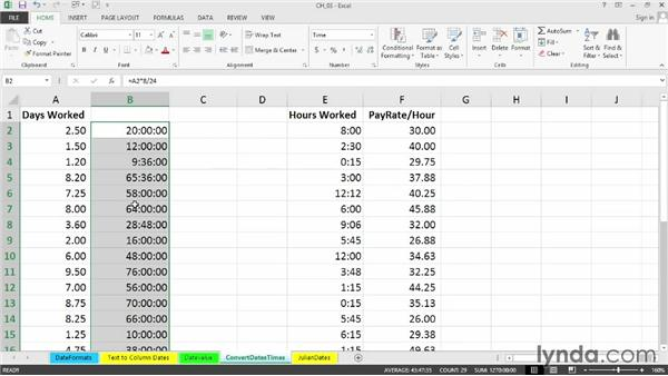 Converting between time units: Day/hour, year/day, etc.: Cleaning Up Your Excel 2013 Data