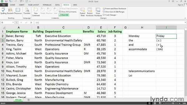 Correcting multiple misspellings: Cleaning Up Your Excel 2013 Data