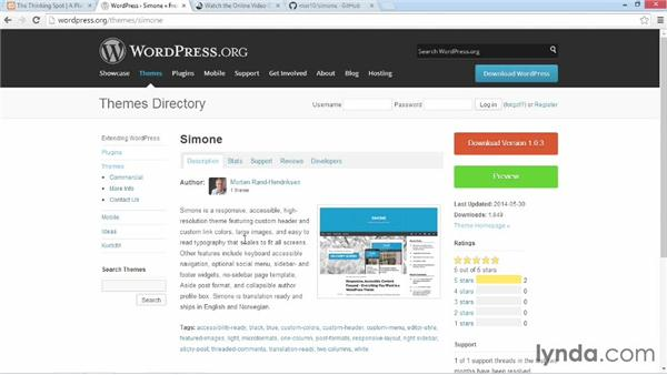Installing and activating Simone: Customizing WordPress Themes: Simone