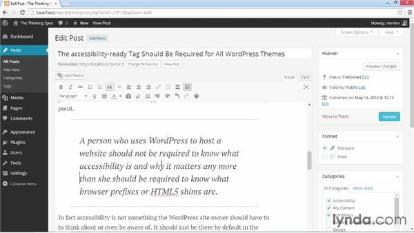 Block quotes and citations: Customizing WordPress Themes: Simone