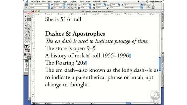 En and em dashes: InDesign CS2 Professional Typography