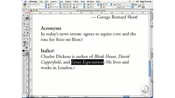 How and when to use italics: InDesign CS2 Professional Typography