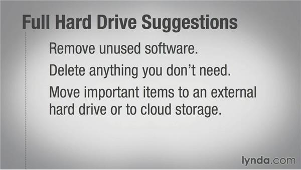 Working with a full hard drive: Speeding Up Your Home PC for Beginners