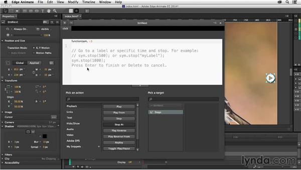 Adding interactivity: Creating a Slideshow with Edge Animate