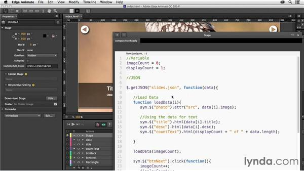 Looping through a gallery: Creating a Slideshow with Edge Animate