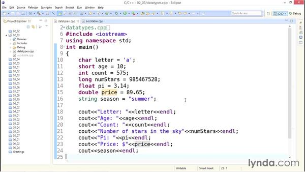 Understanding data types: Up and Running with C++