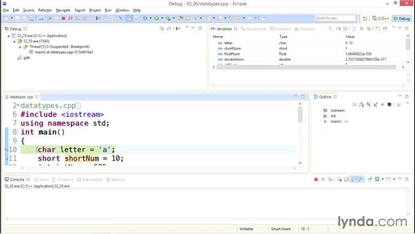 Using the debugger: Up and Running with C++