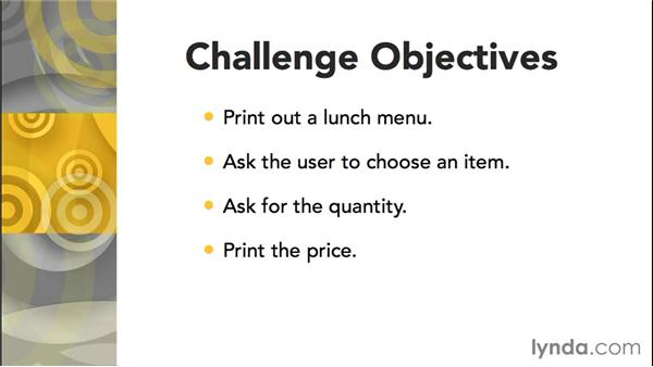 Challenge: Ask for lunch choices: Up and Running with C++