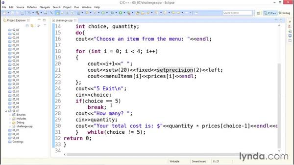 Solution: Ask for lunch choices: Up and Running with C++