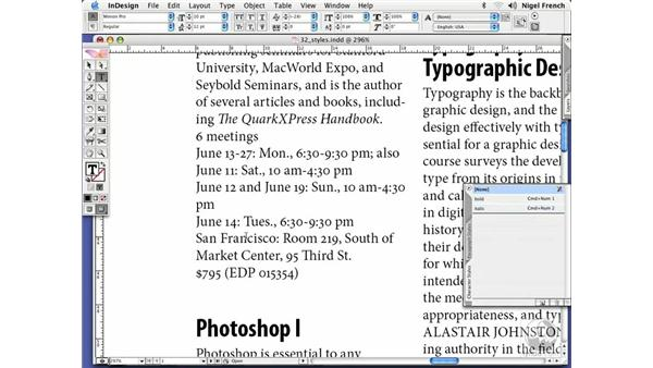 Paragraph and character styles: InDesign CS2 Professional Typography
