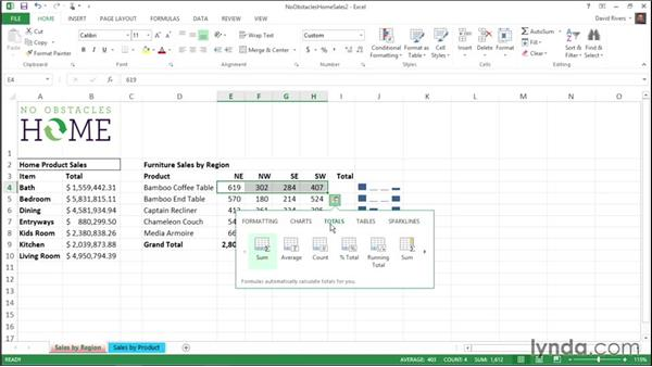 Using Quick Analysis options: Migrating from Office 2007 to Office 2013