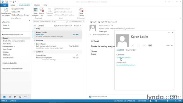 Viewing contact details in one place: Migrating from Office 2007 to Office 2013