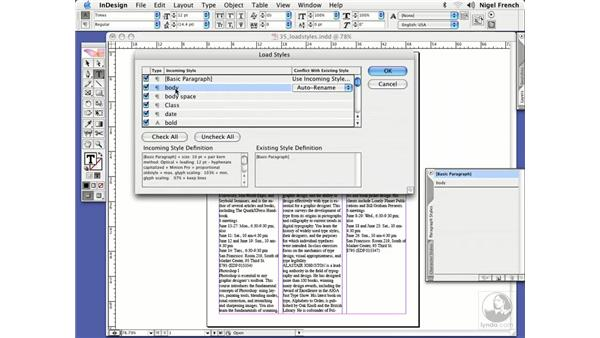 Copying styles between documents: InDesign CS2 Professional Typography