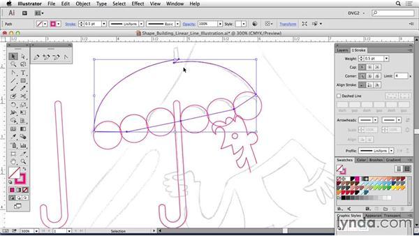 Shape building a linear line illustration: Drawing Vector Graphics: Linear Line Illustration