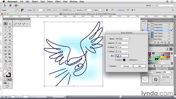 Coloring linear artwork: Drawing Vector Graphics: Linear Line Illustration