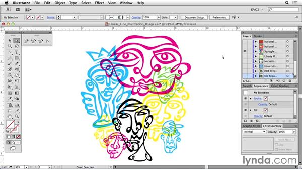 Linear line illustration samples: Drawing Vector Graphics: Linear Line Illustration