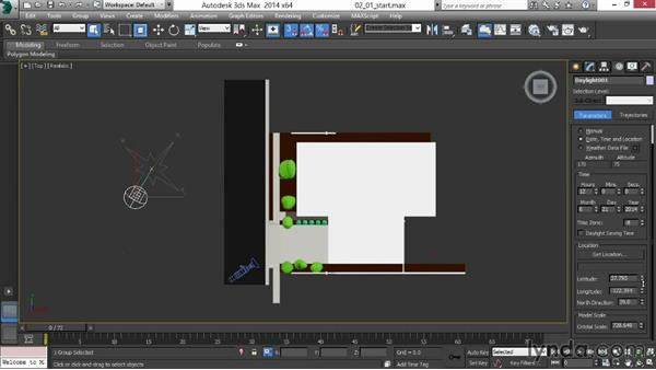Creating the Daylight system and positioning the sun: Rendering Exteriors in 3ds Max