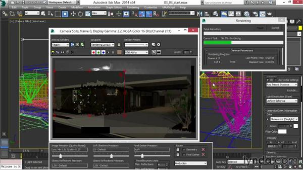Lighting interior spaces for night: Rendering Exteriors in 3ds Max