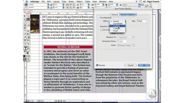 Text frames with different grids: InDesign CS2 Professional Typography