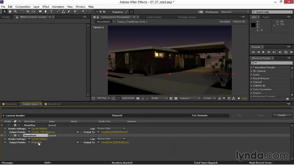 Rendering the composited animation: Rendering Exteriors in 3ds Max