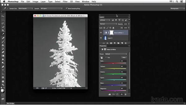 Using the Black & White adjustment layer for basic grayscale conversion: Creating Black-and-White Landscape Photos with Photoshop