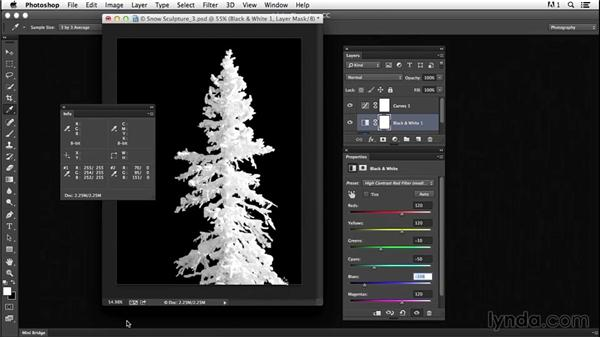 Adjusting Highlight and Shadow values to improve brightness and contrast: Creating Black-and-White Landscape Photos with Photoshop