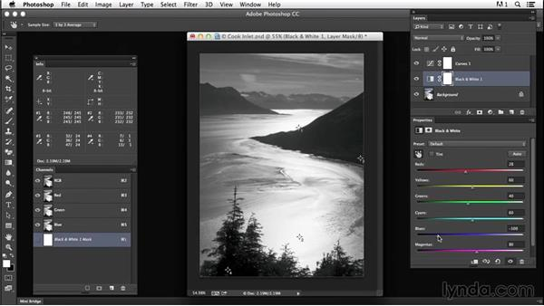 Solution: Convert a color image to black and white: Creating Black-and-White Landscape Photos with Photoshop