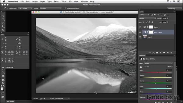 Adding punch to the sky with layer blending: Creating Black-and-White Landscape Photos with Photoshop