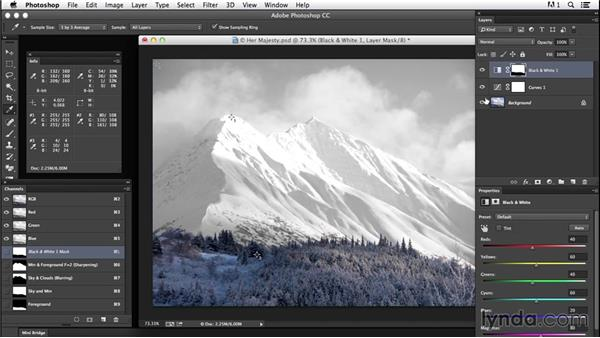 Creating contrast with masks: Creating Black-and-White Landscape Photos with Photoshop